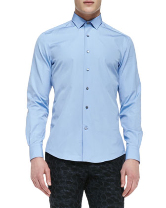 Solid Woven Poplin Shirt, Light Blue