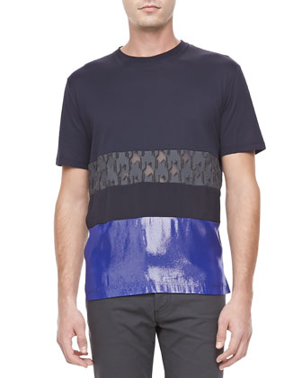 Mixed-Media Short Sleeve Tee & Textured Stretch Jeans