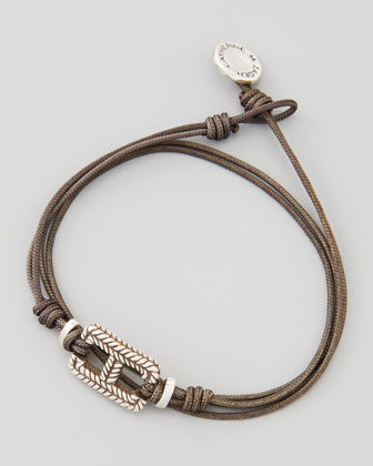 Men's Braid-Rectangle Cord Bracelet, Gray