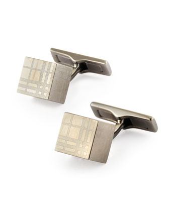 Cube Check Cuff Links, Nickel