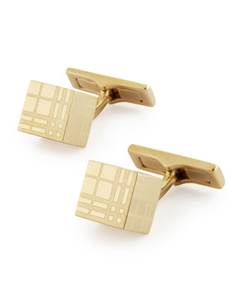 Cube Check Cuff Links, Light Golden