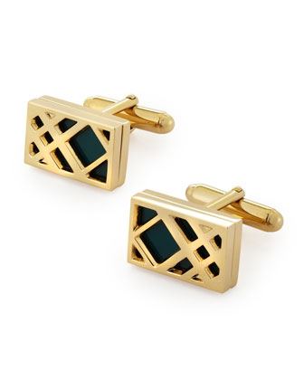 Cage Check Cuff Links, Green