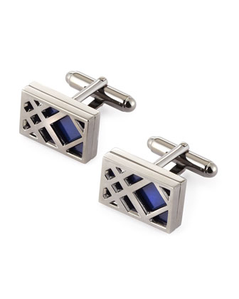 Cage Check Cuff Links, Blue