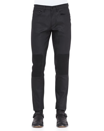Resin-Coated Biker Jeans, Black