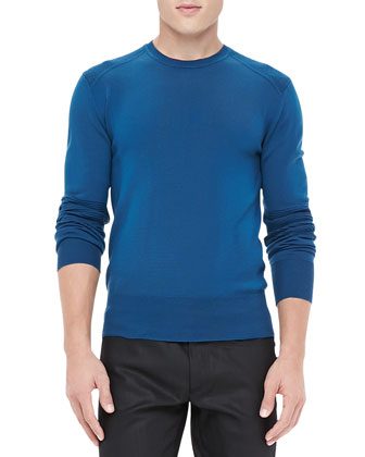 Crewneck Sweater with Ribbed Detail, Blue