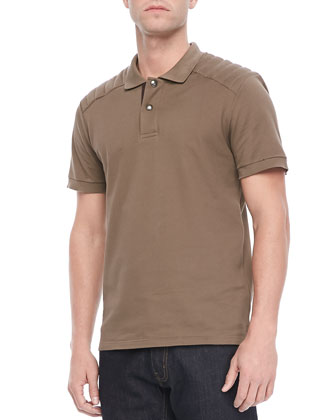 Aspley Textured Jersey Polo, Tan