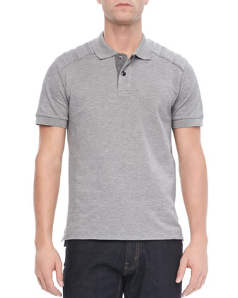 Aspley Textured Jersey Polo, Mid-Gray
