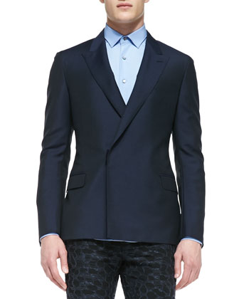 Wool/Mohair Double-Breasted Jacket, Navy
