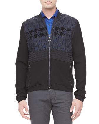 Mixed-Media Zip-Front Jacket, Black