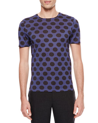 Polka-Dot Crewneck Short-Sleeve T-Shirt, Indigo/Black