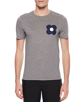 Flower-Print Short-Sleeve T-Shirt, Gray