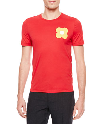 Flower-Print Short-Sleeve T-Shirt, Red