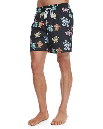 Mahina Turtle-Print Swim Trunks, Black Multi