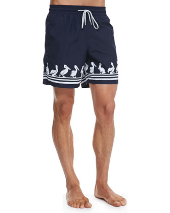 Moorea Pelican-Print Swim Trunks, Navy