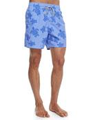 Moorea Turtle-Print Swim Trunks, Blue