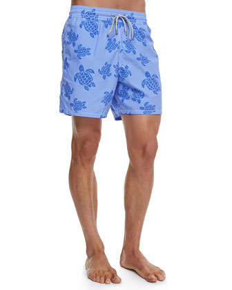 Moorea Turtle-Print Swim Trunks, Blue