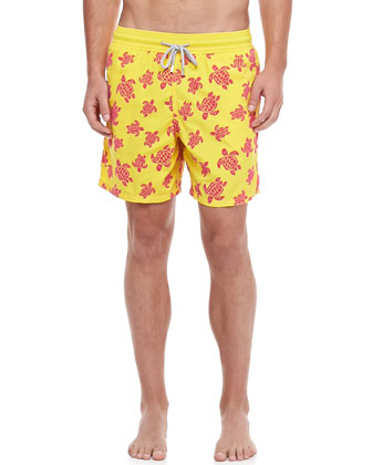 Moorea Turtle Print Swim Trunks, Yellow