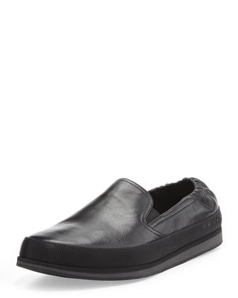San Tropez Leather Slip-On Sneaker, Black