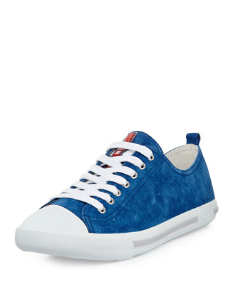 Suede Cap-Toe Sneakers, Blue