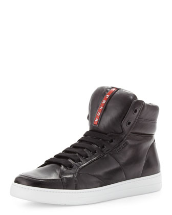 Avenue Leather High-Top Sneaker, Black