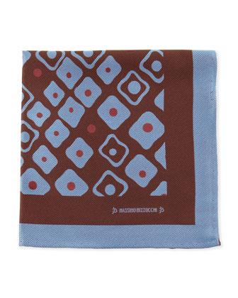 Geometric Pocket Square, Brown/Blue