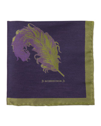 Feather Pocket Square, Navy/Green