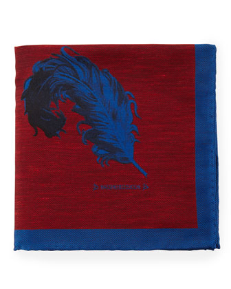 Feather Pocket Square, Red/Blue