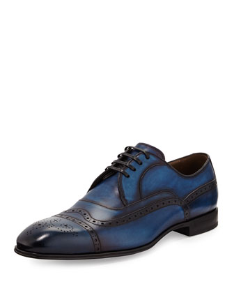 Brushed Leather Wing-Tip Cap-Toe Shoe, Navy