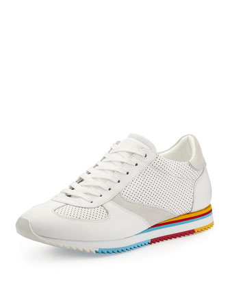 Rainbow-Sole Low-Top Sneaker, White
