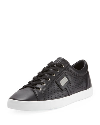 Logo Plaque Low-Top Sneaker, Black