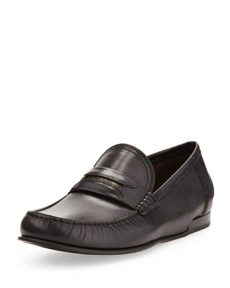 Brushed Leather Logo Loafer, Black