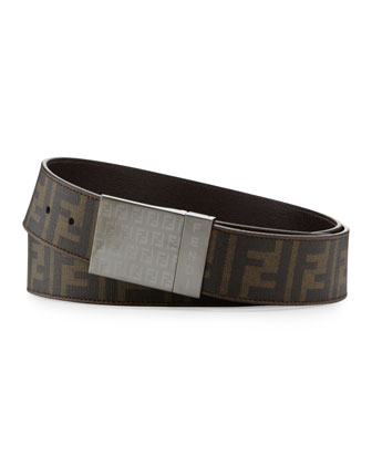 Men's Reversible Plaque-Buckle Belt, Tobacco
