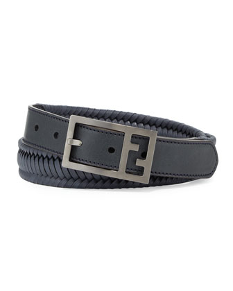 Reversible Braided Leather FF Men's Belt, Navy