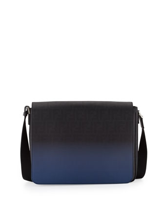 Men's Zucca Ombre Messenger Bag, Black/Blue