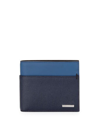 Men's Colorblock Wallet, Blue/Navy