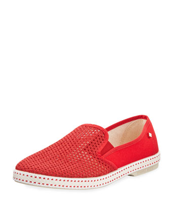 Classic Woven Canvas Slip-On, Red