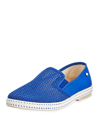 Woven Canvas Slip-On, Royal Blue