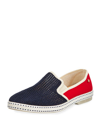 France Classic Canvas Slip-On, Blue/Red