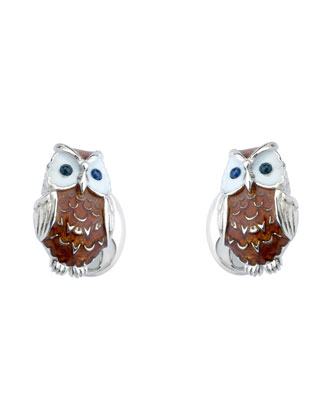 Sterling Silver Owl Cuff Links