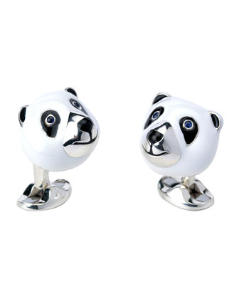Panda Sterling Silver Cuff Links
