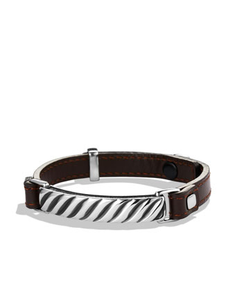 Modern Cable ID Bracelet in Brown Leather