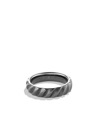 Modern Cable Narrow Band Ring with Black Titanium