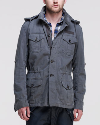 Broken Twill Military Jacket, Dark Gray