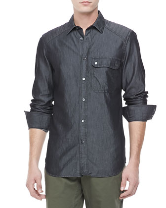 Cotton-Silk Denim Shirt, Black