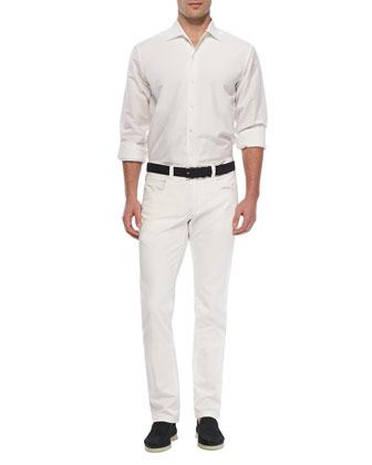 Sahara Melange Andre Linen Shirt, White
