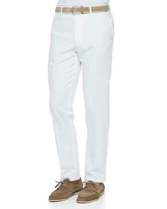 Four-Pocket Cotton/Linen Pants, White
