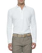 Huck-Lace-Cotton Long-Sleeve Polo, White