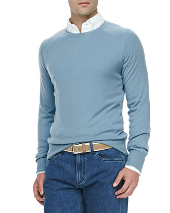 Westport Cashmere Crewneck Sweater, Sky Light