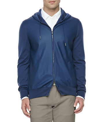 Leather & Cashmere Lightweight Bomber Jacket, Blue
