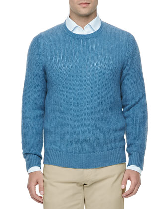 Open-Knit Pullover Sweater, Thunderstorm